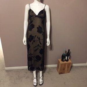 BCBG Black/ Nude burn out velvet dress size 8